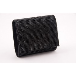 Bag clutch, Anisa Black satin and rhinestones