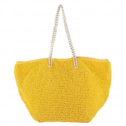 Handtasche, Clelia Gelb, bast -