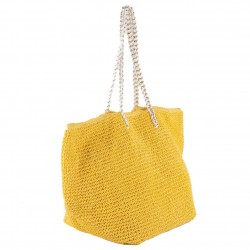 Hand bag, Clelia Yellow, raffia