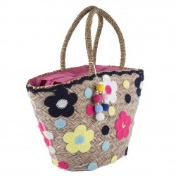 Hand bag, Floriana Multicolor straw
