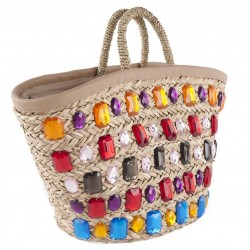 Hand bag, Donated Multicolor straw