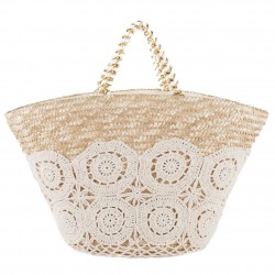 Hand bag, Gilda, White, straw