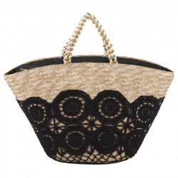 Hand bag, Guild Black, straw
