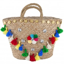 Hand bag, Dalida Multicolor straw