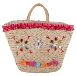 Hand bag, Hedwig Red, straw