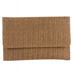 Bag clutch, Noemi Brown, raffia