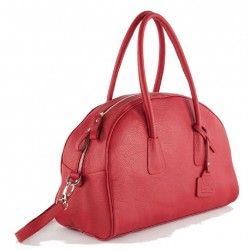 Hand bag, Lola in Red, leather, made in Italy