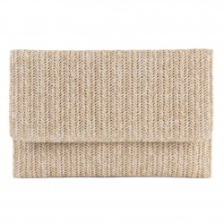 Bag clutch, Noemi Beige, raffia