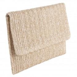 Bag clutch, Noemi Beige, raffia