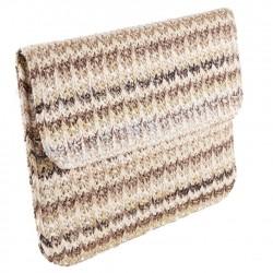 Borsa clutch, Ofelia Marrone, in cotone