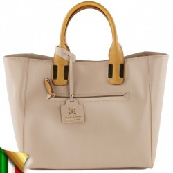 Hand bag, Eleonora beige, leather, made in Italy