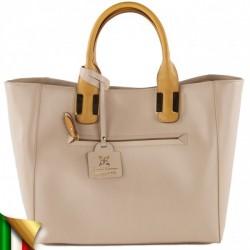 Sac à main, Eleonora beige, en cuir, fabriqué en Italie