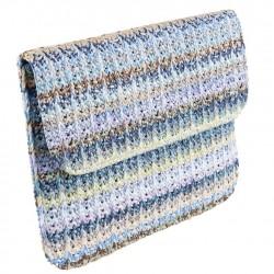 Borsa clutch, Ofelia Blu, in cotone