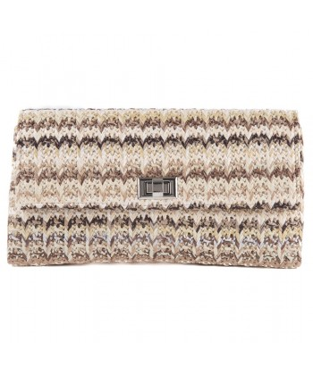 Borsa clutch, Ferdi Marrone, in cotone