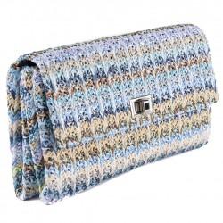 Borsa clutch, Ferdi Blu, in cotone