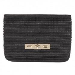 A shoulder bag, a Mere Black raffia