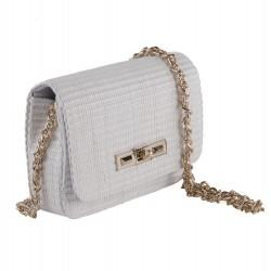 Shoulder bag, Meri White, raffia