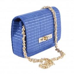 A shoulder bag, a Mere Blue, raffia