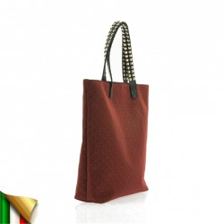 Hand bag, Graziella Red, fabric, made in Italy