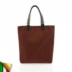 Bolso de mano, Graziella Rojo, tela, hecho en Italia