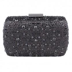 Bag clutch, Nerea, Black, satin