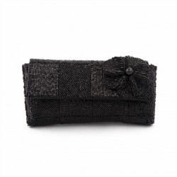 Bag clutch, Antonella Black, satin and beads