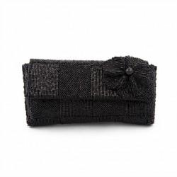 Bolsa de embrague, Antonella Negro, de raso y perlas