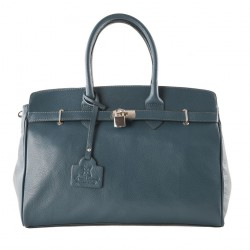 Hand bag, Lilly Green, leather, made in Italy