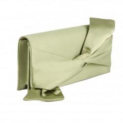 Borsa clutch, Ofelia Verde, in raso