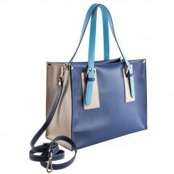Bolso de mano, Odetta Azul, cuero