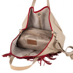 Borsa a mano, Ilaria Beige, in pelle, made in Italy