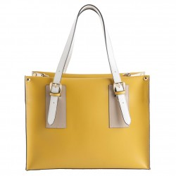 Hand bag, Odetta Yellow, leather