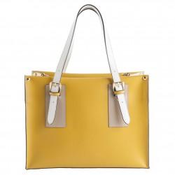Handtasche, Odetta Gelb, leder