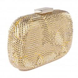 Borsa clutch, Nives Oro, in tessuto