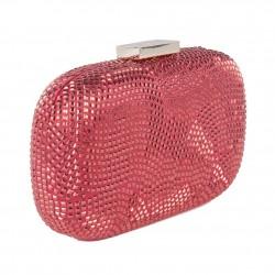Borsa clutch, Nives Rossa, in tessuto