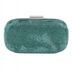 Bolsa de embrague, Nives de color Verde Oscuro, de tela