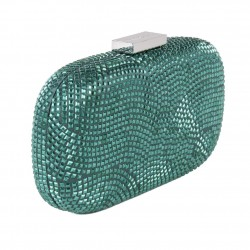 Borsa clutch, Nives Verde Scuro, in tessuto