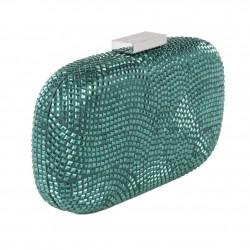 Sac d'embrayage, Nives Vert Foncé, tissu