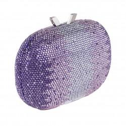 Bolsa de embrague, Ilda Púrpura, tela con piedras