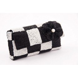 Bag clutch, Antonella black and white, satin and beads