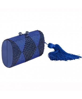 Borsa clutch, Ornella Blu, in tessuto
