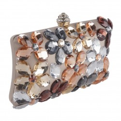 Bag clutch, Naomi Beige, satin