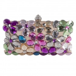 Bag clutch, Naomi Beige Multicolor, satin