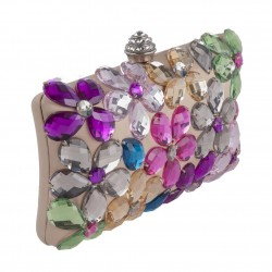 Borsa clutch, Naomi Beige Multicolore, in raso