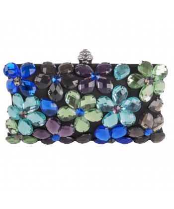 Borsa clutch, Naomi Nera Multicolore, in raso