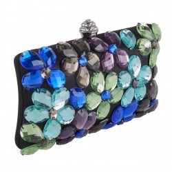 Bolsa de embreagem, Naomi Negro, Multicolor, de satén