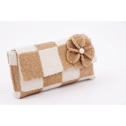 Bag clutch, Antonella, White, and beige, satin and beading