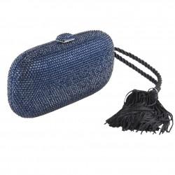 Borsa clutch, Miranda Blu, in tessuto