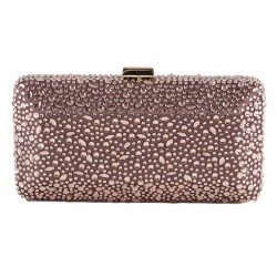 Borsa clutch, Leda Marrone, in tessuto