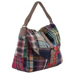 Man saco, Marisa Multi-cor coiro e tecido, feita en Italia
